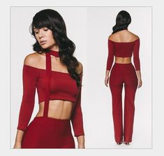 Women red hot 2 in one Crop Top Shirts Jumpsuit Trousers String Halterneck Rompers Clubwear
