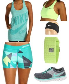 nike pro shorts  nike racer tank  nike shape bra  nike flex run sneaker  nike dri fit headband  puma cell watch
