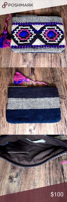 BOHEMIAN BAG Native Tapestry Coin Pouch Mini Purse One Size. Brand New.   • Beautiful tribal accessory bag featuring ethnic embroidered patchwork detailing throughout. • Perfect to use as a small clutch, makeup bag, coin purse, etc. • Full zip closure at top with tassel accent on zipper. • Interior is fully lined; no pockets.  • Cotton, poly.  • Hand-made.  • Measurements provided in comments.   {Southern Girl Fashion - Boutique Policy}   ✔️ Same-Business-Day Shipping (10am CT). ✔️ Price…