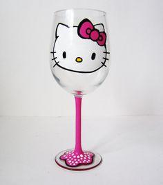 Hello Kitty Wine Glass
