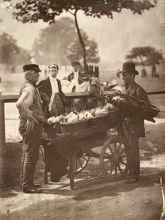 Beer For Sale Victorian 'Mush-Fakers' and ginger beer makers with their cart. Original Publication: From 'Street Life In London' by John Thomson and Adolphe Smith - pub. 1877 (Photo by John Thomson/Hulton Archive/Getty Images). Victorian Street, Victorian Life, Victorian London, Vintage London, London Pictures, Old Pictures, Old Photos, Antique Pictures, London Photos