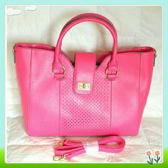 """Niles bag in bright medium pink. Great bag for spring! This cool tote features a perforated center panel with contrasting edge paint detail and a removable shoulder strap. Two inside pockets, one of them with a zipper. Light gold hardware. Magnetic snap and zip clouser.  Details: 14""""L x 11.5:H x 5.5"""", faux leather, 6"""" shoulder drop.  Please use only ✔OFFER  button for all price negotiations. I'll do a price drop⤵ for you for discounted shipping, if we agree about the price. JF Bags Totes"""