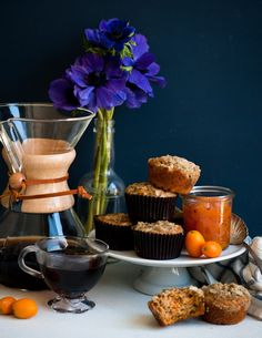 Carrot Za'atar Muffins with Kumquat Lavender Compote