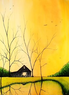"""Kyle Brock; Acrylic, 2012, Painting """"All the Leaves are Gone"""""""