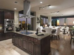 Kitchen and Dining Room with High Ceilings