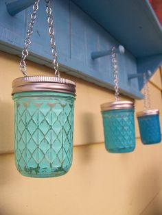 Hey, I found this really awesome Etsy listing at https://www.etsy.com/listing/174218620/hanging-mason-jar-lantern-teal-turquoise
