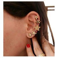 Brinco Earcuff | Estrelas   #bijouxmaysaursula #bijoux #acessorios #acessoriosboho #bohochic #moda, Earcuff, brinco de estrela