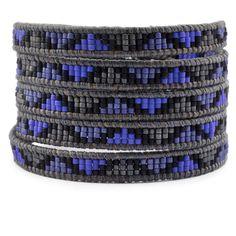 Royal Blue Mix Beaded Wrap Bracelet on Natural Grey Leather - Chan Luu