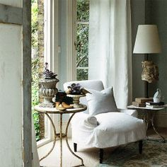 linen slipcover and side tables