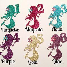 Sirena número Cupcake Toppers conjunto de por BirdInACageCreations