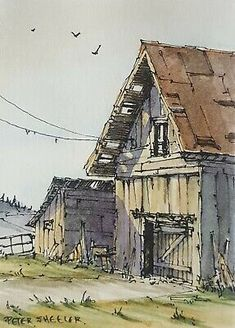 """Find many great new & used options and get the best deals for Farm barn ACEO 2.5""""x3.5"""" Original Watercolor Peter Sheeler countryside rural  at the best online prices at eBay! Free shipping for many products!"""