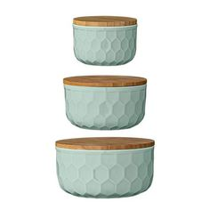 """Why We Love ItSet of 3 honeycomb designed, mint green serving or mixing bowls with lids More InformationDimensions: 4"""", 5"""" & 6"""" Round"""