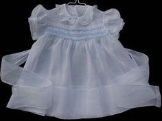 beautiful vintage batiste smocked white baby dress.