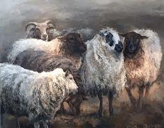Schilderij met 5 schapen - overig