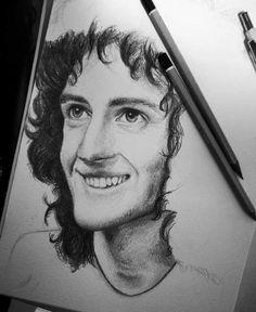 Wow God bless the person who did that Queen Brian May, Queen Drawing, Queen Art, Queen Freddie Mercury, John Deacon, Killer Queen, Save The Queen, Robert Plant, Make Art