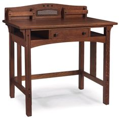 """Limbert writing desk, Ebon-Oak line, ebony inlay at back above an original caned panel flanked by letter racks, single drawer with original pulls and open storage above vertical slats at sides, original finish, branded signature, some stains to top, 36""""w x 20""""d x 35""""h     SOLD $1,586, Treadway auction, Dec 7, 2013"""
