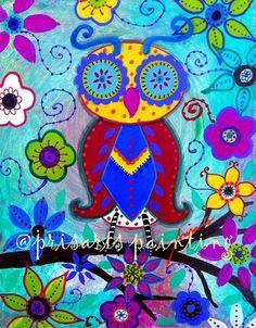Mexican PRISTINE Owl Bird Whimsical Painting ORIGINAL Folk Art Flowers PRISARTS