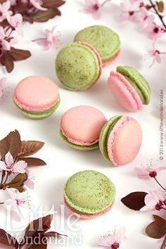Macarons de té Matcha y cereza | Matcha green tea and cherry macarons