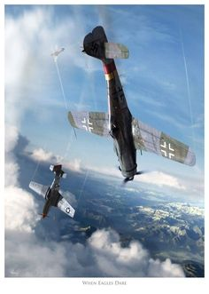 When Eagles Dare by Luftwaffe, Ww2 Aircraft, Fighter Aircraft, Fighter Jets, Airplane Fighter, Airplane Art, Military Jets, Military Aircraft, Focke Wulf 190