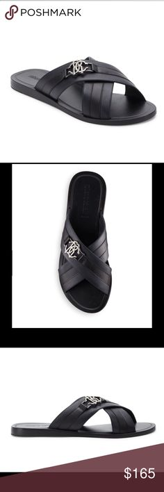 "Roberto Cavalli Crisscross Slip-On Men's Sandals Easy to hop into slip-on flats with a crisscross design Heel, 1""(25mm) Signature metal logo accent on top Slip-on style Made in Italy Roberto Cavalli Shoes Sandals & Flip-Flops"