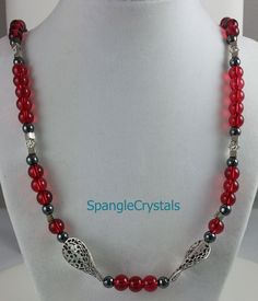 Cranberry Red, Black & Pewter Bead Design Necklace. Easy On Easy Off. Slips Over Your Head. No Clasp. by SpangleCrystals on Etsy