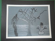 Black & White Winter Landscape created by one of my 2nd Grade students after viewing photographs by Ansel Adams.
