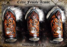 Celtic Female Armor Vambraces - WIP by Deakath.deviantart.com on @deviantART