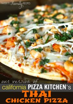 I am completely in love with this thai chicken pizza pizza. Whenever we eat at California Pizza Kitchen, I can't not order it. The flavors are amazing. Next time you crave pizza, try this copycat recipe.