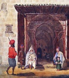 Algérie - Peintre Français, Theodore  Leblanc(1800 - 1837) , Aquarelle sur papier 1835, Titre : Entrée d'une mosquée à Alger , Localisation : Paris, Bibliothèque Nationale.