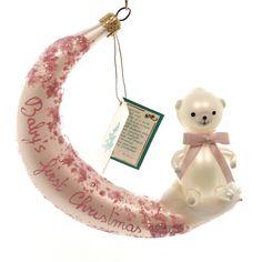 Bear On Moon Glass Ornament