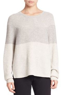 Cool colorblocking elevates cozy ribbed sweater. Vince Colorblock Ribbed Sweater