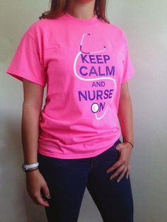 Keep Calm & Nurse On Tshirt  Safety Pink by STLClothingCo on Etsy