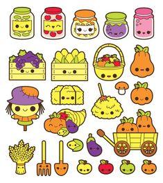 Kawaii fall clipart, kawaii autumn clipart, kawaii harvest clipart, kawaii pumpkin clipart, kawaii f Cute Food Drawings, Mini Drawings, Cute Kawaii Drawings, Kawaii Cute, Easy Drawings, Kawaii Doodles, Cute Doodles, Kawaii Stickers, Cute Stickers