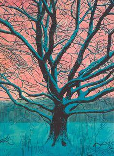 Martin Jacobson (Swedish, b. 1978), Turquiose snow, flesh coloured sky. Watercolour on paper, 96 x 72 cm.