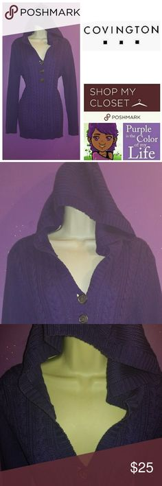 """Hooded Sweater Hooded, pullover, knit sweater.  Excellent Used Condition.  Didn't get much use here in Florida.  Worn only a few times.  Medium.  Measures 28"""" inches from shoulder to bottom of sweater. Comfy and cozy. Covington Sweaters Cardigans"""