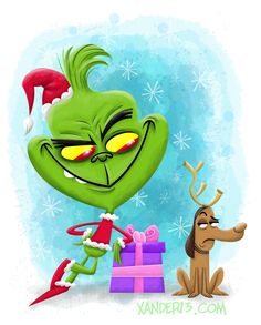 The Grinch by xanderthurteen. Merry Christmas Everybody, Grinch Stole Christmas, Merry Little Christmas, Christmas Art, Christmas Holidays, Christmas Decorations, The Grinch Movie, Grinch Party, Whimsical Christmas