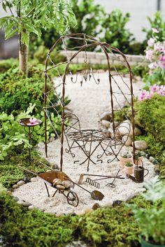 Jeremie   Vine Arbor Miniature Garden Kit Includes Arbor, Bistro Table, 2  Bistro Chairs