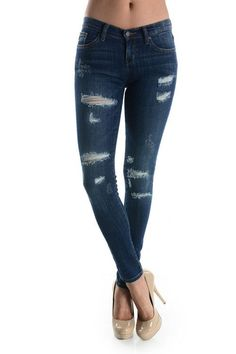Denim Skinny Jeans With Ripped Detailing