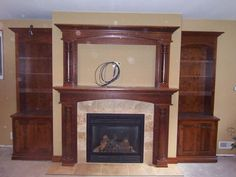 faux Fireplace with bookshelves Ideas | Vintage and Antique Fireplace - Mantels
