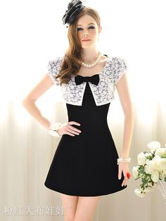 d17c2ceb782e3 Women's Black-White Patchwork Flower Lace Bow Puff Sleeve Dress @ In The  Sacks