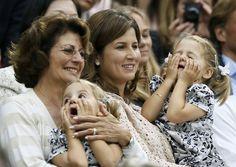 Mirka Federer watches husband Roger Federer with her twin daughters Myla Rose & Charlene Riva and their grandma, Roger's mom Lynette Federer. (Wimbledon 2012 final)