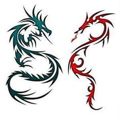 Cool Konturen Zeichnen Henna Vorlagen Tattoo Bilder Airbrush Schablonen Stoffmuster Drachen Tattoo designs Kleine Drachen Tattoos Tribal Dragon Tattoos