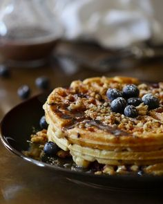 Blueberry Waffles with Brown Sugar Streusel and Blueberry Syrup by Climbing Grier Mountain