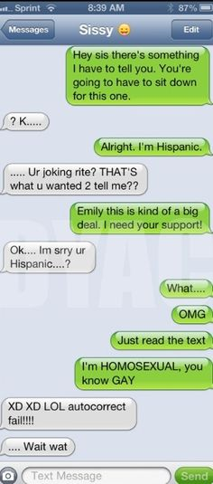 Autocorrect fail – Coming out - Funny Texts - Funny Text Messages Funny Texts To Send, Funny Sms, Funny Text Fails, Cute Texts, Funny Text Messages, Funny Jokes, Hilarious Texts, Funny Troll, Stupid Memes