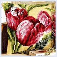 DIY Needlework Crafts RED TULIPS Cushion Cover Cross Stitch Printed Crewel Yarn Pillow Case Cross Stitch Kits for Embroidery(China (Mainland))