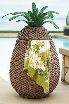 This tropical towel hamper 13 Crazy Pool Accessories That Totally Redefine Cool Tropical Pool Landscaping, Landscaping Ideas, Backyard Landscaping, Pool Backyard, Tropical Backyard, Backyard Paradise, Crazy Pool, Decorative Leaves, Pool Games
