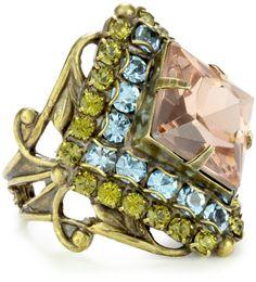 "Sorrelli ""Meadow Mist"" Starburst Crystal Gold-Tone Adjustable Ring"