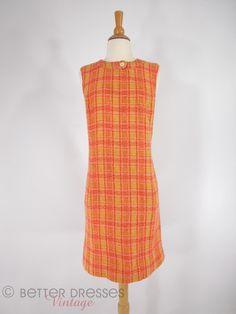 Vintage 60s Jumper Dress Mod Sleeveless Shift in Bright Wool Plaid - med by Better Dresses Vintage