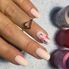 flamingo nails, pink nails, nude nails