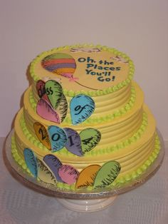 Dr. Suess Oh the places you'll go graduation cake.